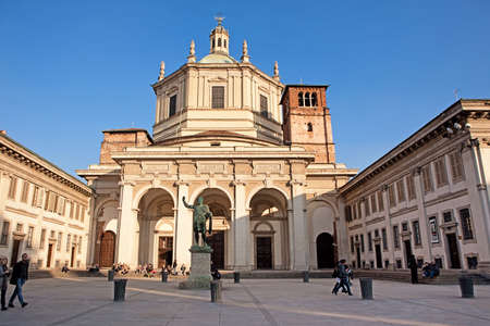 2 november: Milan Italy  November 2 2012: Tourists are walking around the Basilica of San Lorenzo Maggiore on 2 November 2012 in Milan Italy.