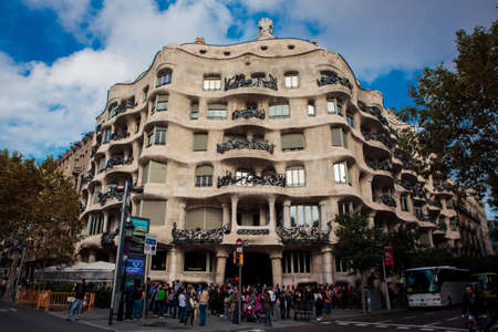 modernist: Barcelona, Spain - October 27, 2015: La Pedrera, or Casa Mila, a modernist building in Barcelona, Catalonia, Spain on 27 October, 2015.