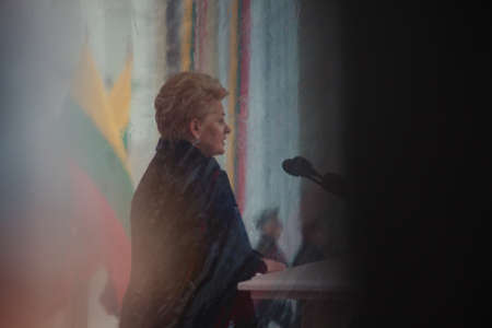 delivers: Vilnius, Lithuania - February 16, 2016: President Dalia Grybauskaite delivers a speech in flag raising ceremony of the Baltic States during celebration of the Independence Day on February 16, 2016 in Vilnius.