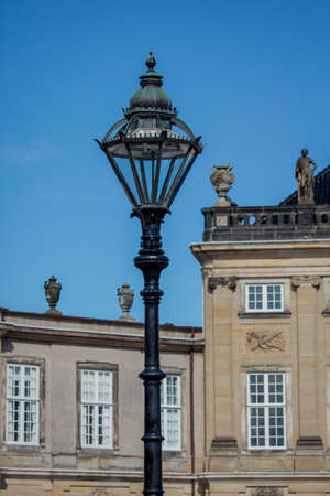 royal family: Torch at the Amalienborg, the winter home of the Danish royal family in Copenhagen, Denmark Editorial