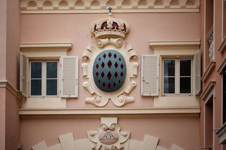 Architectural detail with Monaco coat of arms - Royal Arms of Prince Albert II, monarch and head of Princely House of Grimaldi, Monaco Stock Photo