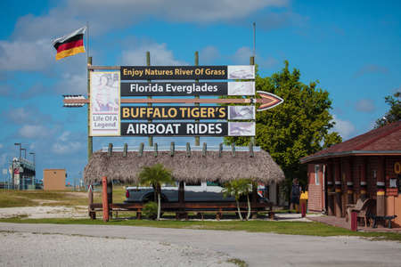 Everglades, FL, USA - October 5, 2016: Buffalo Tigers Airboat Rides organising tours to wtch alligators in Florida Everglades Editorial