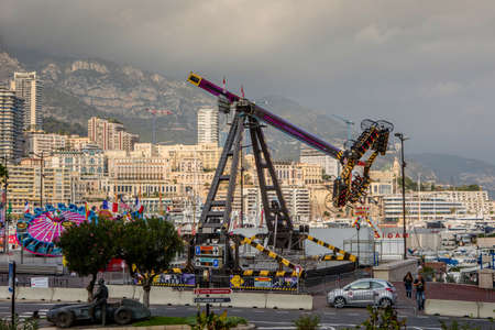 Monaco, Monte Carlo - November 4, 2016: Amusement park infront of densely populated district of Monaco, which is the second smallest and the most densely populated country in the world. Editorial