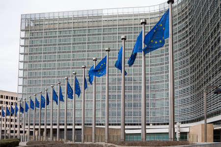 Brussels, Belgium - February 25, 2017: The Berlaymont is an office building that houses the headquarters of the European Commission, which is the executive of the EU. Zdjęcie Seryjne