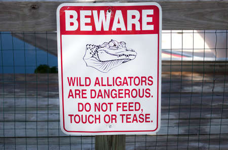 Beware of alligators sign. Imagens