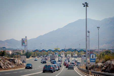 Koprivno, Croatia - August 19, 2017: A toll collection area in croatian toll road near Split.
