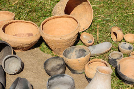 Kernave, Lithuania - July 4, 2015: International Festival Days of Life Archaeology in Kernave. There are demonstrated crafts from the early Middle Ages and Prehistoric Crafts.
