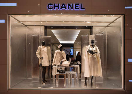 Paris, France - October 30, 2017: Chanel shop in Paris, Printemps shopping centre. Chanel is a fashion house founded in 1909 specialized in haute couture and luxury goods. 에디토리얼