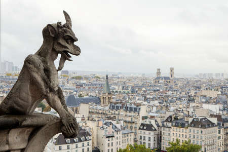Gargouillebeeldhouwwerk op de toren van Notre Dame de Paris withbackground van horizon van Parijs, Frankrijk. Stockfoto