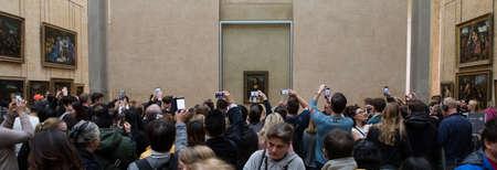 Paris, France - October 30, 2017: Visitors take photos of Leonardo DaVincis Editorial