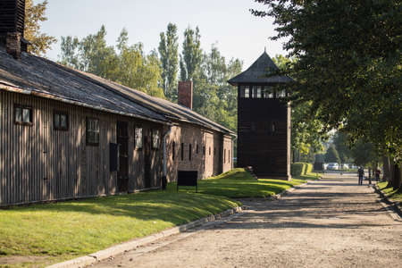 Auschwitz, Poland - August 28, 2017: Guard tower at the Auschwitz concentration camp, the biggest extermination camp in Europe built by Nazi. Editorial
