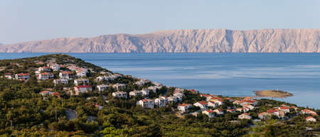 Croatian town Klenovica. View of Adriatic sea and Krk island early morning