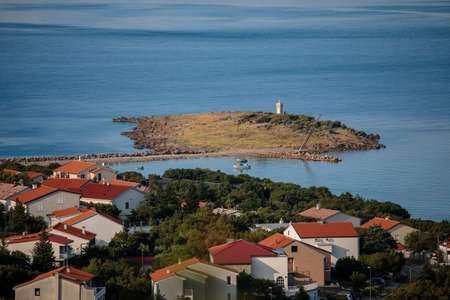 Croatian town Klenovica. View of Adriatic sea early morning