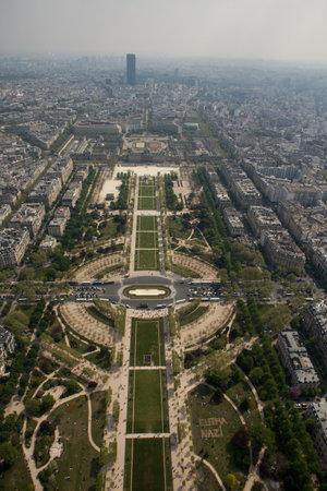 Paris, France - April 12, 2014: Aerial view of Champ de Mars from Eiffel Tower in Paris, France.