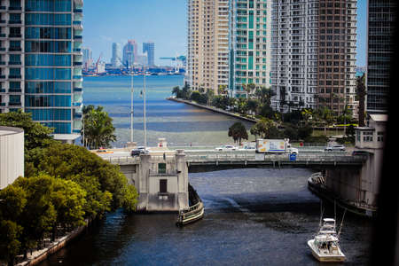 Miami, FL, United States - October 11, 2016: The mouth of the Miami River at Brickell Key