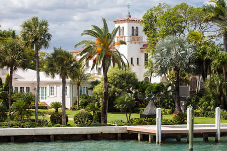 Miami, FL, United States - October 10, 2016: Villa in the Star Island, a man-made island in Biscayne Bay. Some celebrities own homes on this island, including Sean Combs, Gloria Estefan, Don Johnson, Rosie ODonnell, Xuxa and Shaquille ONeal. Editorial