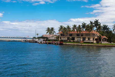 Miami, FL, United States - October 10, 2016: Star Island, a man-made island in Biscayne Bay. Some celebrities own homes on this island, including Sean Combs, Gloria Estefan, Don Johnson, Rosie ODonnell, Xuxa and Shaquille ONeal.