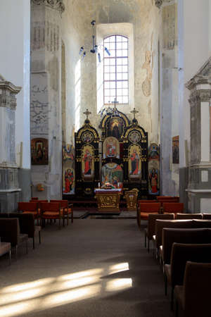 Vilnius, Lithuania - May 27, 2018: Interior of the church of the Holy Trinity (Uniates) in Vilnius, Lithuania