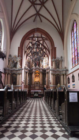 Vilnius, Lithuania - June 24, 2011: Interior of the St Anne Church. The church of St Anne is a masterpiece of the late Gothic period. Editorial