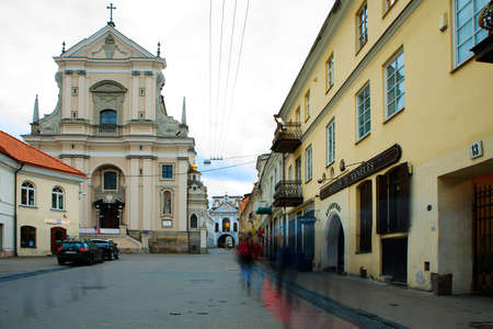 Vilnius, Lithuania - April 24, 2018: Church of St. Theresa in the evening. This is one of the early Baroque buildings in Lithuania.