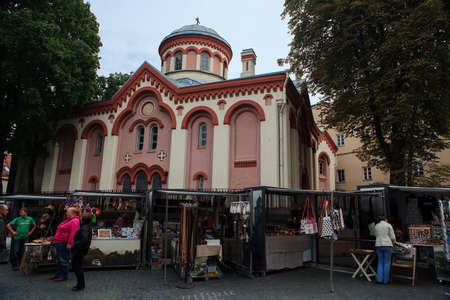 Vilnius, Lithuania - August 31, 2010: Street market in front of the Orthodox church of St. Paraskeviya in Vilnius, Lithuania.