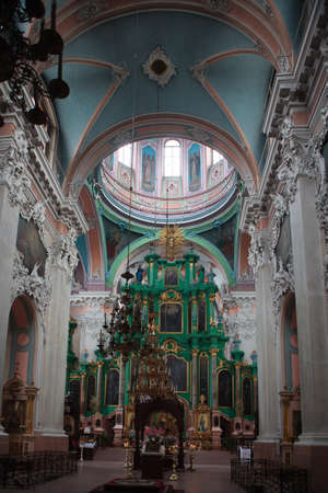 Vilnius, Lithuania - August 31, 2010: Interior of the Orthodox Church of the Holy Spirit in Vilnius, Lithuania.