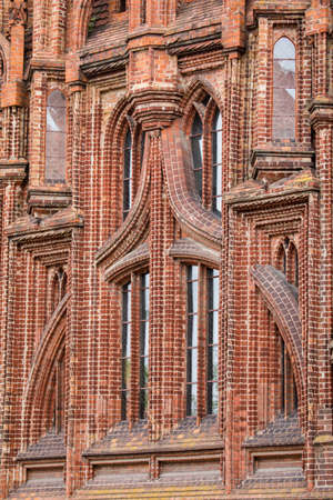 Detail of the ornate wall of the St Anne Church in Vilnius. The church of St Anne is a masterpiece of the late Gothic period.