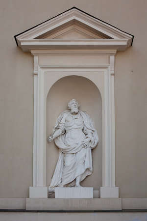 Statue of Abraham on the wall of Vilnius Cathedral, Lithuania