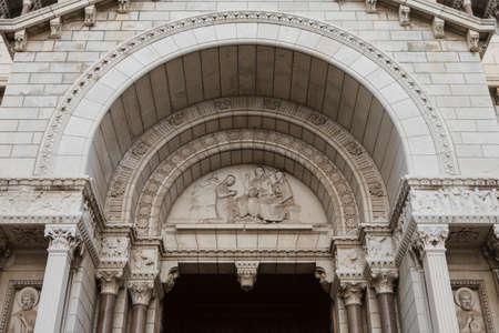 Detail of exterior of the Monaco Cathedral (Cathedrale de Monaco) in Monaco