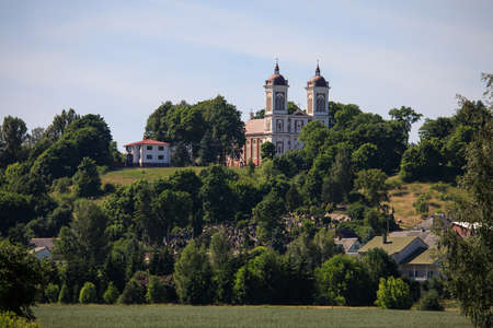 Small town Seredzius with its church on the hill, Lithuania