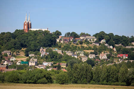 Small town Vilkija on the hill. Lithuania Stock Photo