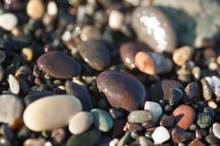 Wet pebble texture close up on the Mediterranean beach, very shallow depth of field Stock Photo