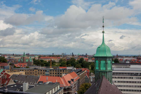 Copenhagen, Denmark - July 29, 2015: Copenhagen, the city of spires. Cityscape with Trinitatis Church.