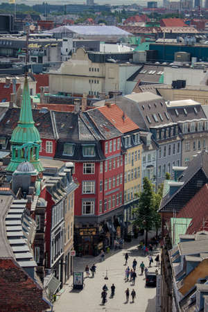Copenhagen, Denmark - July 29, 2015: Copenhagen cityscape, view from Rundetaarn. Editorial