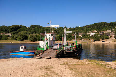 Vilkija, Lithuania - June 9, 2018: Vilkyne Ferry on the river Nemunas between Pavilkijys and Vilkija towns. Editorial