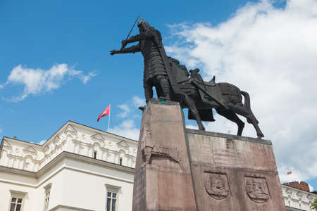 Vilnius, Lithuania - June 24, 2011: Monument of Grand Duke Gediminas, standing in Cathedral Square in Vilnius. Sculptor Vytautas Kasuba.