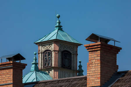 Roof detail of Kenesa in Trakai (Lithuania), place of worship of karaites ethnic group. Editorial