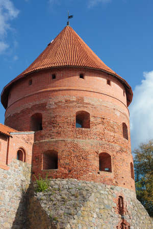 Trakai, Lithuania - October 15, 2011: Trakai Island Castle on the island of Lake Galve, 14th century historic fortress. Editorial