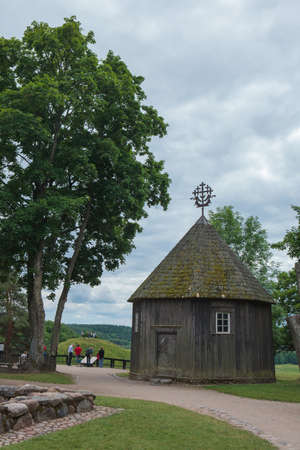 Kernave, Lithuania - June 25, 2011: Old chapel in Kernave, a medieval capital of the Grand Duchy of Lithuania. Today it is a tourist attraction. Editorial
