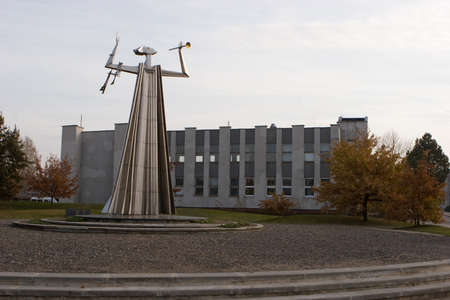 Silale, Lithuania - November 4, 2005: Sculpture Herald of Freedom, the first monument to commemoration of Day of Restoration of Independence of Lithuania. Sculptor Kazimieras Kisielius.