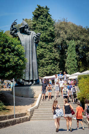Split, Croatia - August 19, 2017: Statue of Gregory of Nin in Split. Gregory was a medieval Croatian bishop of Nin who strongly opposed the Pope.