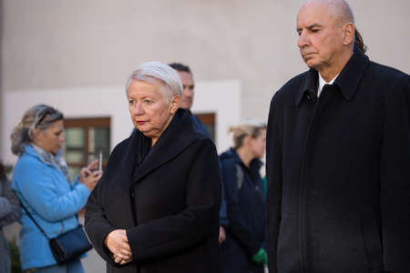 Vilnius, Lithuania - October 6, 2018: Auksute Ramanauskaite-Skokauskiene, daughter of Adolfas Ramanauskas-Vanagas, prominent leader of the Lithuanian Freedom Fighters, during his state funeral ceremony.