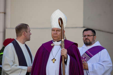 Vilnius, Lithuania - October 6, 2018: Archbishop of Vilnius Gintaras Grusas during the state funeral of Adolfas Ramanauskas-Vanagas, prominent leader of the Lithuanian Freedom Fighters.