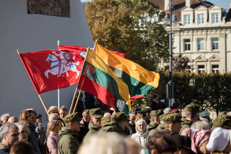 Vilnius, Lithuania - October 6, 2018: The state funeral of Brigadier General Adolfas Ramanauskas-Vanagas, prominent leader of the Lithuanian Freedom Fighters (partisans) against Soviet occupation. 新聞圖片