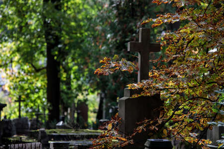 An old graveyard with tombstones and crosses in Vilnius, Lithuania