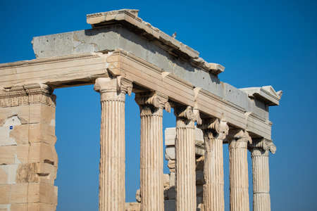 Ionic columns of  the Erechtheum in the Acropolis of Athens, Greece