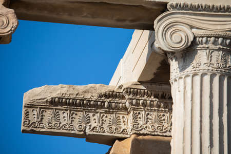 A Ionic anta capital, with extensive bands of floral patterns in prolongation of adjoining friezes at the Erechtheion in Athens, Greece
