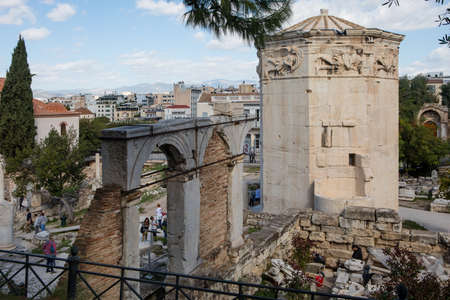 Athens, Greece - October 25, 2018: Tower of the Winds or the Horologion of Andronikos Kyrrhestes in the Roman Agora in Athens, Greece