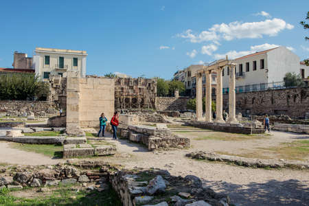Athens, Greece - October 25, 2018: Courtyard of the Hadrian's Library in Athens, Greece. Editorial
