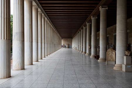 Athens, Greece - October 23, 2018: Stoa of Attalos in the ancient Agora, Athens, Greece